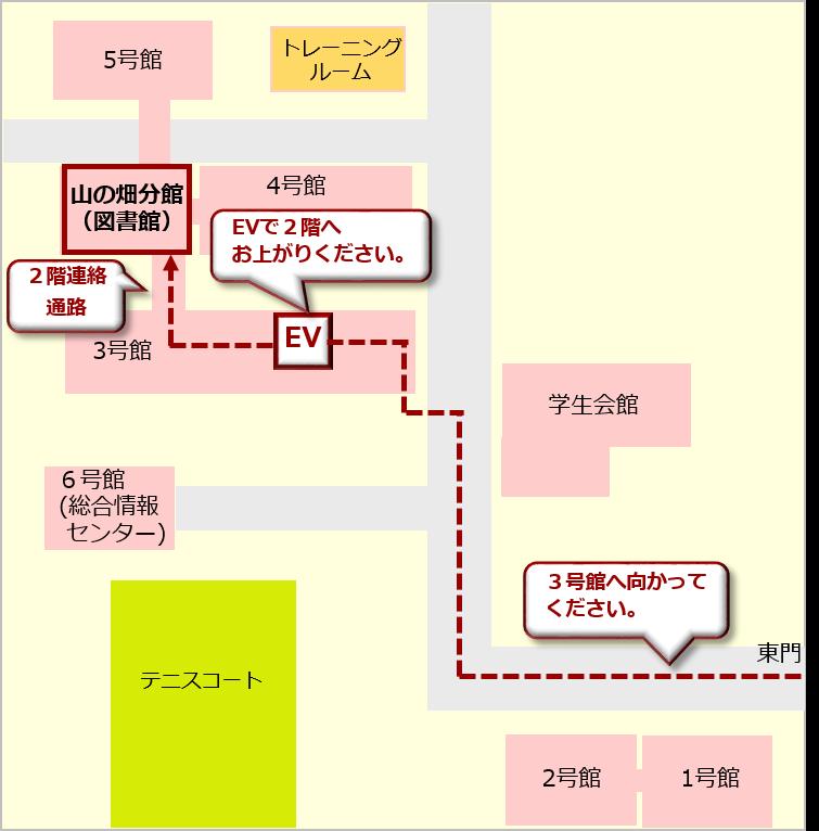 車椅子をご利用の方は、滝子(山の畑)キャンパスの東門から3号館へ進み、3号館のエレベータで2階に上がり、連絡通路から起こしください。